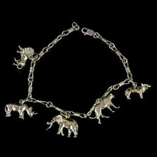 BIG FIVE AFRICAN ANIMAL 18K CHARM BRACELET,lobster claw is 9ct,charms