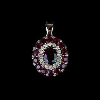 Ruby and Diamond Pendant, set with 1 oval cut ruby totalling 0.92ct