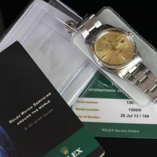 GENTLEMEN'S ROLEX OYSTER PERPETUAL DATE WRISTWATCH REF 1500/0 WITH