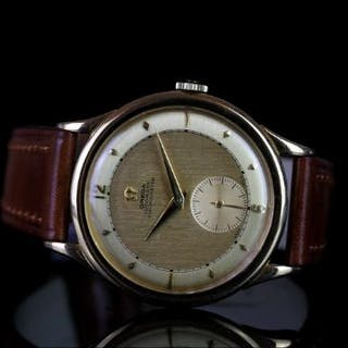 RARE GENTLEMENS OMEGA CHRONOMETER CENTENARY 18CT GOLD WRISTWATCH