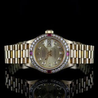 LADIES ROLEX OYSTER PERPETUAL DATEJUST 18CT GOLD DIAMOND & RUBY SET