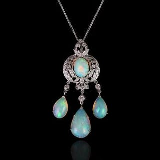 Opal and diamond necklace, centre cabochon cut opal approximately