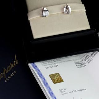 Pair of Chopard Happy Diamonds earrings w/ box & papers, square 18ct