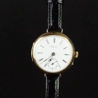 RARE GENTLEMEN'S LONGINES 9K GOLD TRENCH WATCH CIRCA 1930's, circular