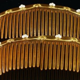 Two pressed horn hair combs, with gold and pearl detail, a/f