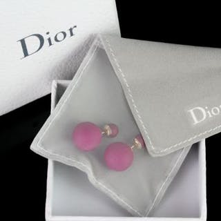 Pair of Dior Tribales earrings w/ box, pink spheres, approximate length