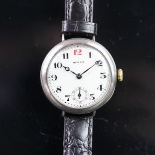 GENTLEMEN'S ROLEX SILVER TRENCH WATCH, circular white dial with a
