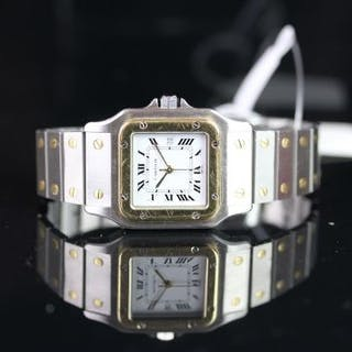 MID SIZE CARTIER AUTOMATIC SANTOS STEEL & GOLD WRISTWATCH, square