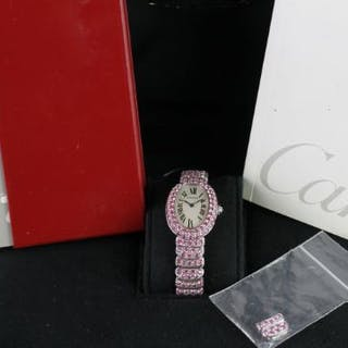 RARE LADIES CARTIER 18CT WHITE GOLD BAIGNOIRE PINK SAPPHIRE FACTORY