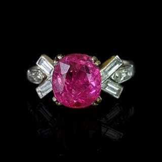 Burma pink sapphire and diamond ring, mounted in white metal with