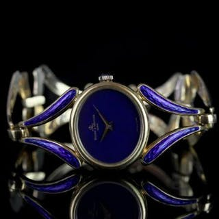 LADIES BAUME & MERCIER ENAMEL WRISTWATCH, oval lapis lazuli dial