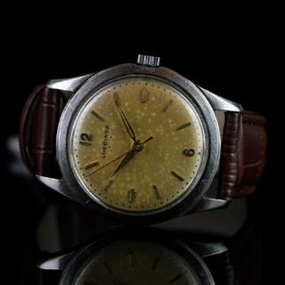 GENTLEMENS LONGINES VINTAGE STAINLESS STEEL WRISTWATCH, circular patina