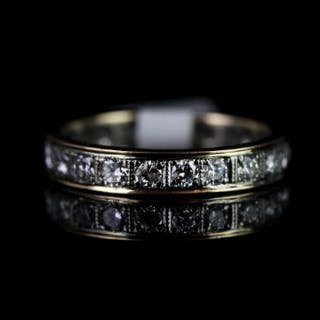 18 CT NEARLY FULL ETERNITY RING WITH 2 DIAMONDS REPLACED WITH GOLD