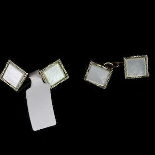 YELLOW AND WHITE METAL , MOTHER OF PEARL CUFFLINKS CIRCA 1950S, stamped