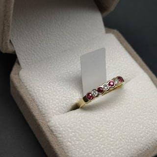 Ruby and diamond half eternity ring, alternating round cut rubies