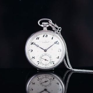 VINTAGE LONGINES PLATINUM POCKET WATCH, circular patina cream dial