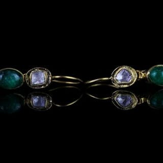 18CT CABOCHON EMERALD AND TABLE CUT DIAMOND DROP EARRINGS,on wire