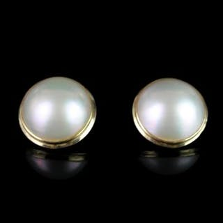 LARGE 14K MABE CLIP ON PEARL EARRINGS, estimated 18mm ,stamped 585