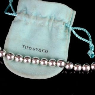 Tiffany & Co bracelet w/ pouch, silver ball bead bracelet, hallmarked