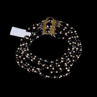 Garnet and pearl multi strand bracelet, faceted beads of garnets strung