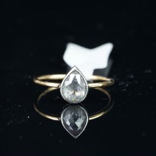 Rose cut diamond solitaire ring, pear shaped rose cut, approximately