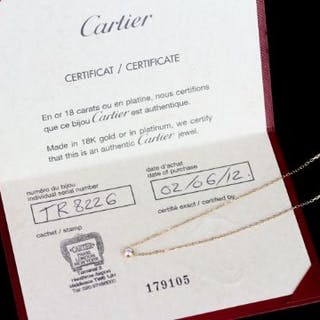 Cartier diamond necklace w/ papers, set with 1 round brilliant cut