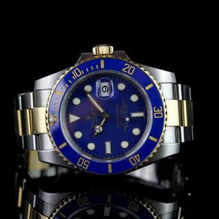 GENTS ROLEX SUBMARINER 116613LB CIRCA 2011 BLUE AND GOLD CERAMIC BEZEL,round
