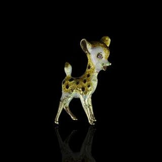 18CT ENAMELLED BAMBI BROOCH, total weight 15.24 gms, not hallmarked.