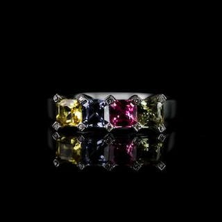 4 colour sapphire ring, set with 4 stones approximately 4mm each square