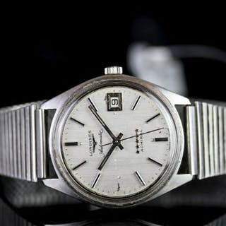 GENTLEMENS LONGINES AUTOMATIC ADMIRAL DATE WRISTWATCH W/ BOX & PAPERS
