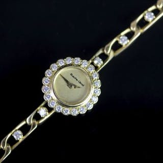 LADIES BEUCHE GIROD 18CT GOLD DIAMOND SET COCKTAIL WRISTWATCH, circular