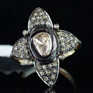 Large fancy shaped diamond cluster ring, mounted in silver on gold