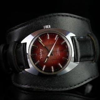 GENTLEMEN'S VICTORY WRISTWATCH, circular red sunburst wave dial with