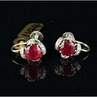 Ruby and diamond screw back ear clips, set in unmarked white metal