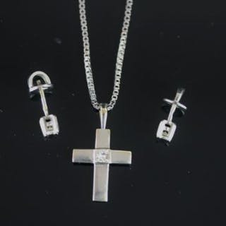18K WHITE GOLD CROSS AND CHAIN,stone estimated at 0.12ct, stamped