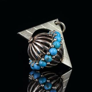 Turquoise rotating sphere pendant, 15 turquoise stones set to the