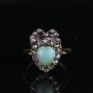 Diamond and turquoise ring circa early 20th century, set with heart