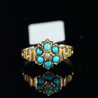 Victorian 15ct gold turquoise and pearl flower cluster ring, mounted
