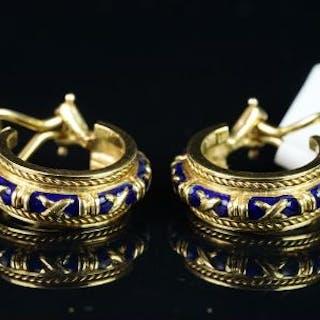 Hidaglo signed 18ct enamel earrings, blue enamel detail, rope edge