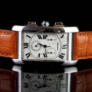 GENTLEMENS CARTIER TANK AMERICANE 18CT WHITE GOLD CHRONOGRAPH DATE