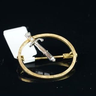 Baguette diamond dagger brooch, 19mm dagger with diamond set hilt