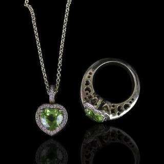 Pasquale Bruni Peridot and Diamond matching ring and necklace, ring