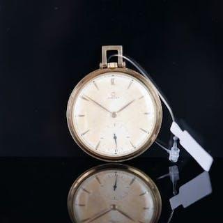 VINTAGE OMEGA 14CT POCKET WATCH, circular patina salmon dial with