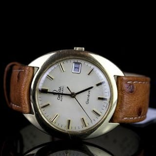 GENTLEMENS OMEGA GENEVE AUTOMATIC 18CT GOLD WRISTWATCH, circular cream