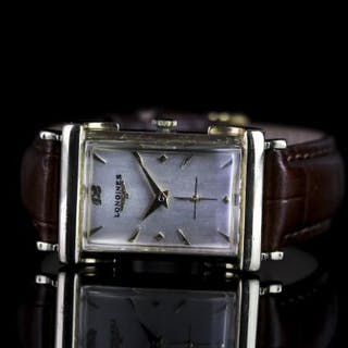GENTLEMANS 14K LONGINES DRESS WATCH,oblong,white dial with gold hands,gold