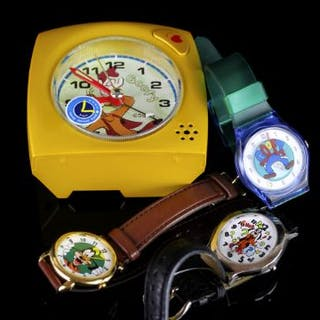 WALT DISNEY ALARM CLOCK AND GROUP OF 3 CHILDRENS WATCHES.