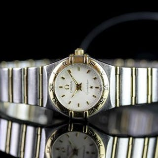 LADIES OMEGA STEEL AND GOLD CONSTELLATION, circular textured off white