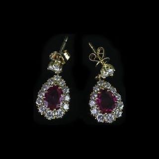 18K RUBY AND DIAMOND DROP EARRINGS,rubies estimated 6.03 x 7.10 mm,graduated