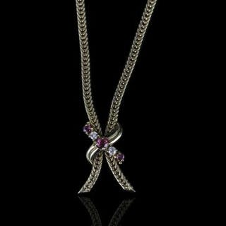 Ruby and Diamond necklace, set with 3 rubies and 2 round brilliant