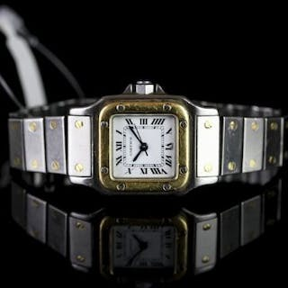 LADIES CARTIER SANTOS AUTOMATIC STEEL & GOLD WRISTWATCH, square white